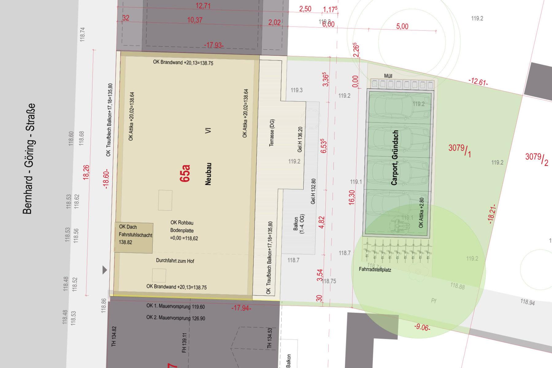 Lageplan mit Carport und Grünfläche